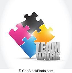 puzzle, concept, collaboration, illustration, morceaux