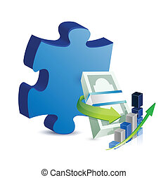 puzzle, concept, disparu, business, morceau