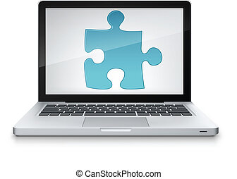 Puzzle Concept. Information Medium on Grey Gradient...