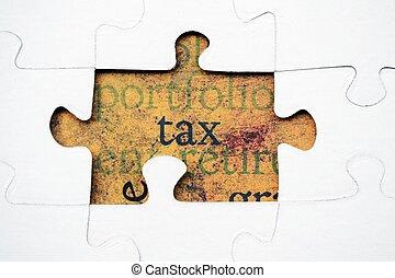 puzzle, concept, impôt