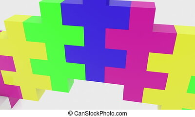 Puzzle concept in various colors
