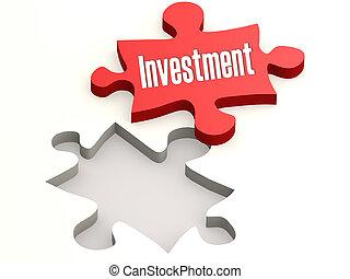 puzzle, concept, investissement, rouges