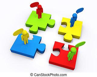 puzzle, concept, linéaire, gens