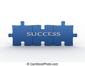 Puzzle concept - success - Blue jigsaw puzzles with the text...