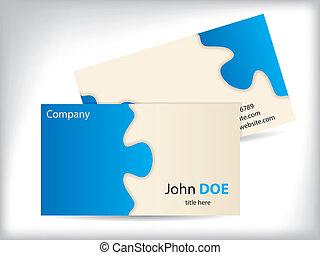 puzzle, conception, carte affaires