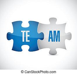 puzzle, conception, illustration, équipe
