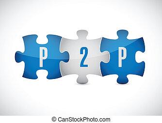 puzzle, conception, p2p, illustration, morceaux