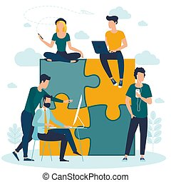 puzzle, concetto, affari
