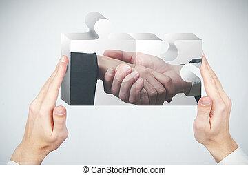 puzzle, concetto, associazione