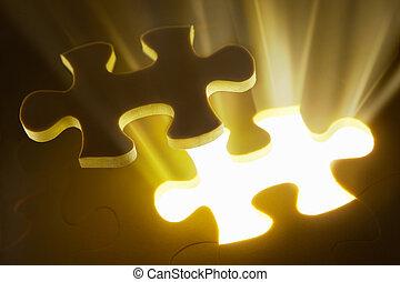 puzzle, concetto, pezzo