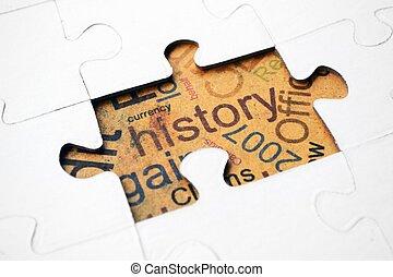 puzzle, concetto, storia