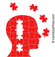 puzzle, concetto, testa