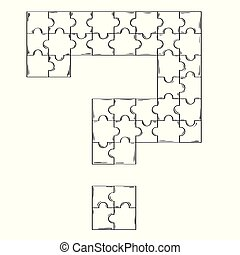 puzzle connected into the shape of question mark