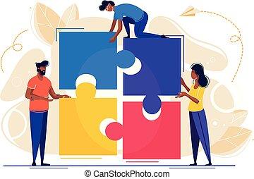 puzzle, connecter, gens