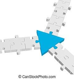 puzzle, /, connexion, collaboration, symbolisme, 3d