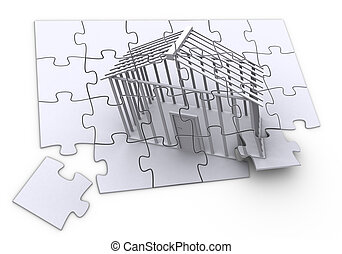 3d rendered image of a jigsaw-puzzle of a building beeing constructed. high quality.