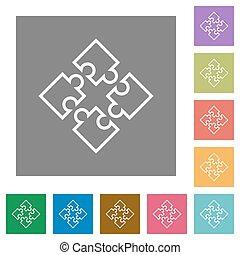Puzzle contour square flat icons