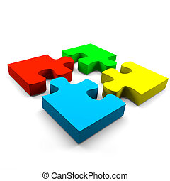 Puzzle cooperation concept - four color puzzle pieces...