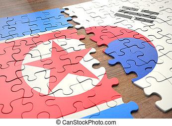 puzzle, corea, sud nord