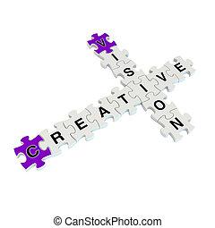 puzzle, créatif, fond, blanc, vision, 3d