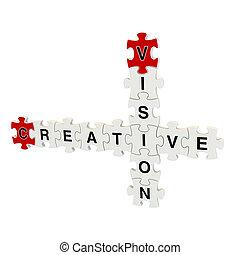 puzzle, créatif, vision, 3d, blanc