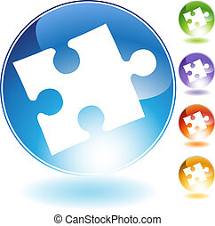 puzzle crystal icon - puzzle crystal isolated on a white...