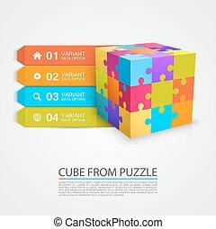 puzzle, cube, coloré, info.