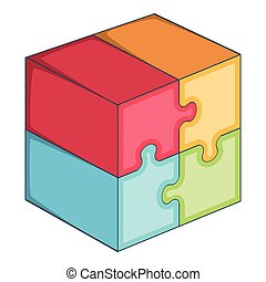 Puzzle cube icon, cartoon style