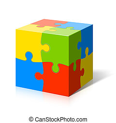 Puzzle cube vector illustration