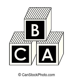 Puzzle cubes with alphabet cartoon in black and white