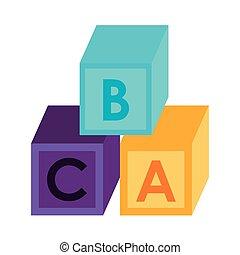 Puzzle cubes with alphabet cartoon