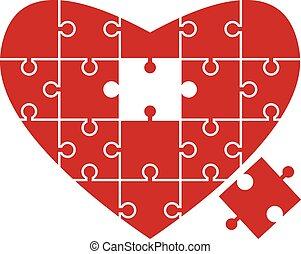puzzle, cuore, pezzo, mancante