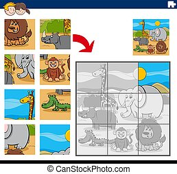 puzzle, dessin animé, jeu, puzzle, animaux