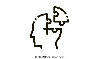 Puzzle Detail Man Silhouette Headache animated black icon on white background