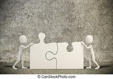 puzzle, deux morceaux, homme, 3d, joindre