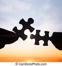 puzzle, deux morceaux, relier, mains, essayer