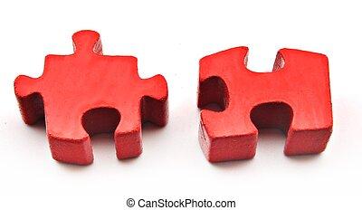puzzle, deux, rouges, morceaux