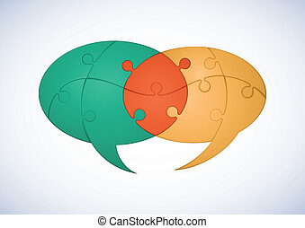 Puzzle Dialog - Two Intersecting Puzzle Pieces Speech...