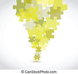 puzzle, disegno, giallo, illustrazione, pezzi