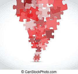 puzzle, disegno, rosso, illustrazione, pezzi