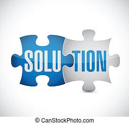 puzzle, disegno, soluzione, illustrazione