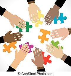 puzzle, diversità, mani