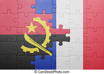 puzzle, drapeau angola, national, france