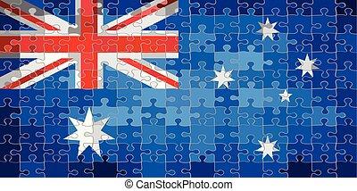 puzzle, drapeau australie, fond, fait