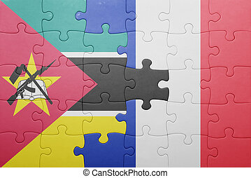 puzzle, drapeau mozambique, national, france