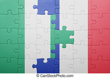 puzzle, drapeau, nigeria, national, france