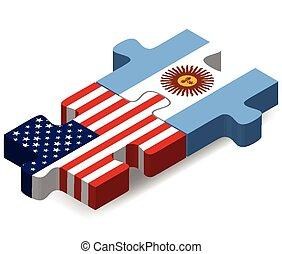 puzzle, drapeaux, argentine, usa