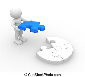 Puzzle - 3d people - human character, person with last piece...