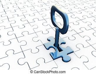 Puzzle - Jigsaw ( puzzle) and key in keyhole. 3d render...