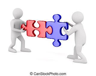 puzzle, due, isolato, fondo., bianco, uomo, immagine, 3d